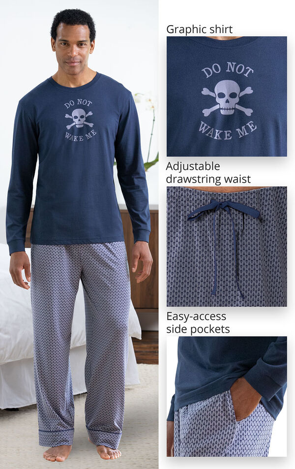 Blue Skull Print PJ with Graphic Tee for Men image number 2