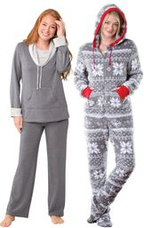 Models wearing World's Softest Pajamas - Charcoal and Hoodie-Footie - Nordic Fleece.