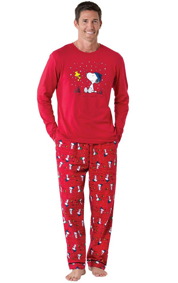 Model wearing Red Snoopy and Woodstock PJ for Men image number 0