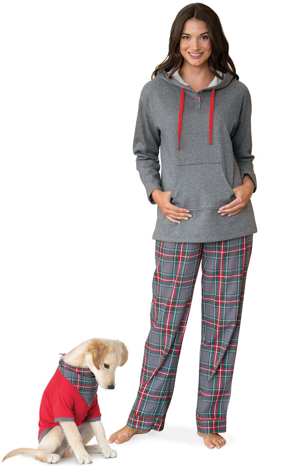 Models wearing Gray Plaid Matching PJs for Pet and Owner image number 0