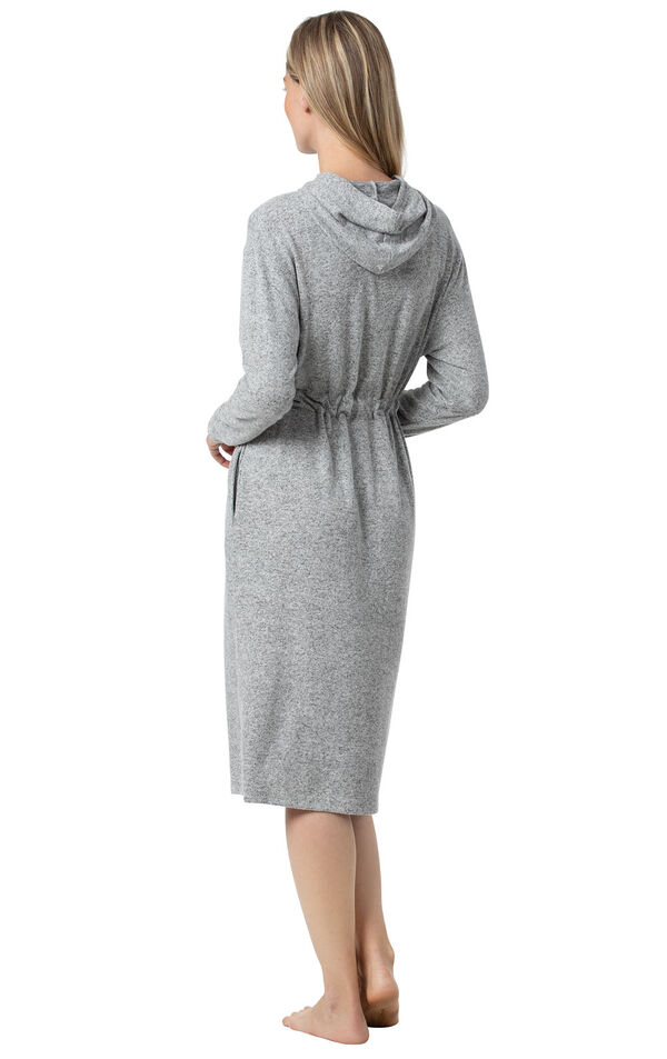 Model wearing Gray Fleece Lounge Robe for Women, facing away from the camera image number 1