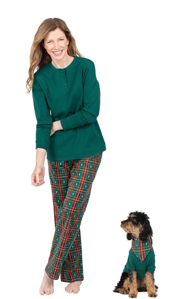 Christmas Tree Plaid Matching Pet & Owner Pajamas image number 0