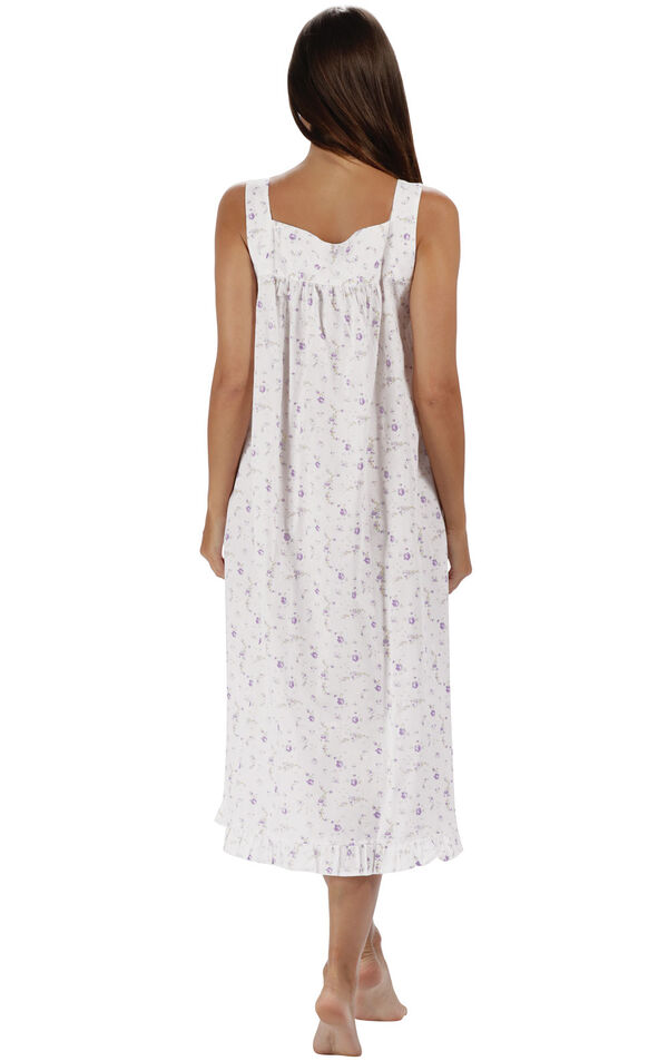 Model wearing Nancy Nightgown in Lilac Rose for Women, facing away from the camera image number 1