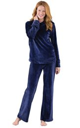 Model wearing Dark Blue Hooded Micro Velvet Hoodie PJ for Women image number 1