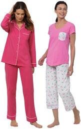 Models wearing Solid Jersey Boyfriend Pajamas - Bold Pink and Flamingo Stripe Short-Sleeve Capri Pajamas image number 0