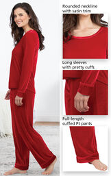 Close-ups of Velour Long-Sleeve Pajama features which include a rounded neckline with satin trim, long sleeves with pretty cuffs and full-length cuffed PJ pants image number 3