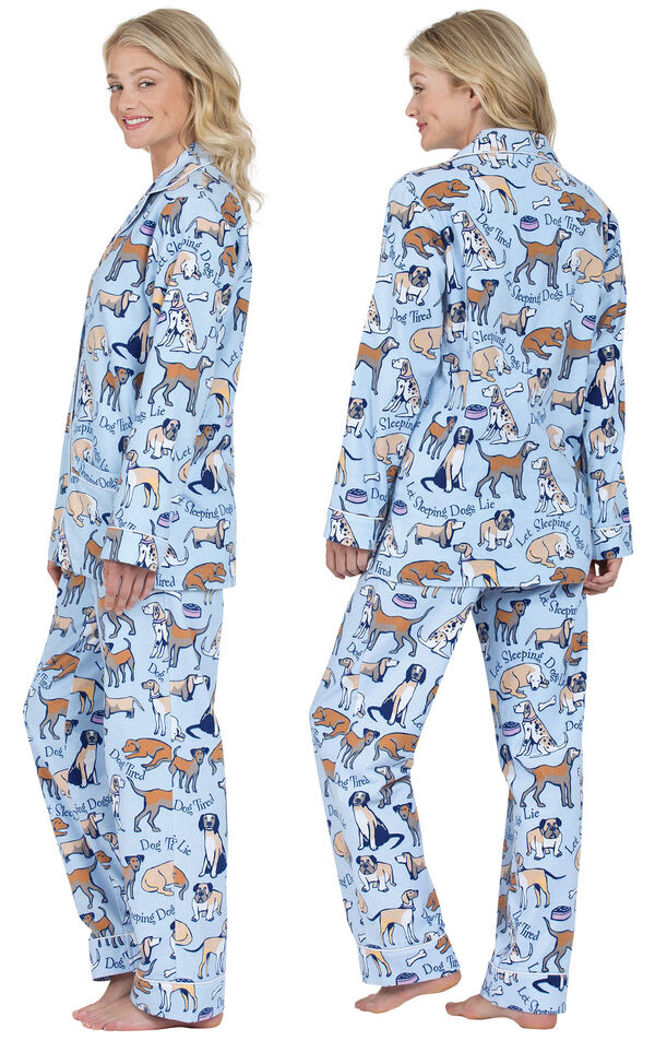 Model wearing Light Blue Dog Tired Print Button-Front PJ for Women, facing away from the camera and then to the side image number 1