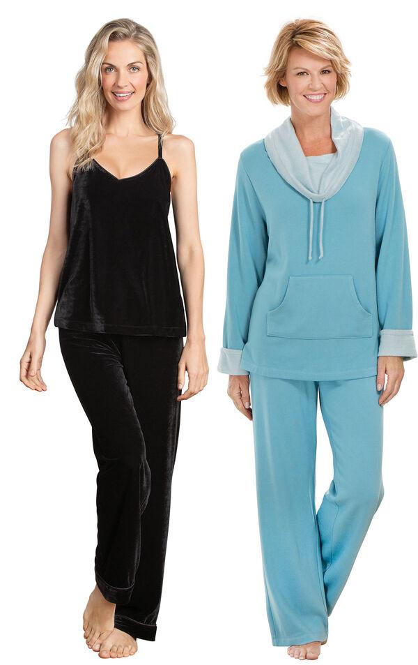 Models wearing Velour Cami Pajamas - Black and World's Softest Pajamas - Teal. image number 0