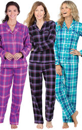 Models wearing Modern Plaid, Raspberry Plaid and Wintergreen Plaid  Boyfriend Flannel Pajamas. image number 0