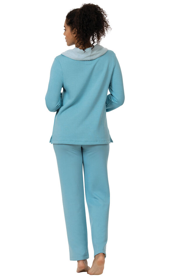 Model wearing World's Softest Teal Cowl-Neck Pajama Set for Women, facing away from the camera image number 1