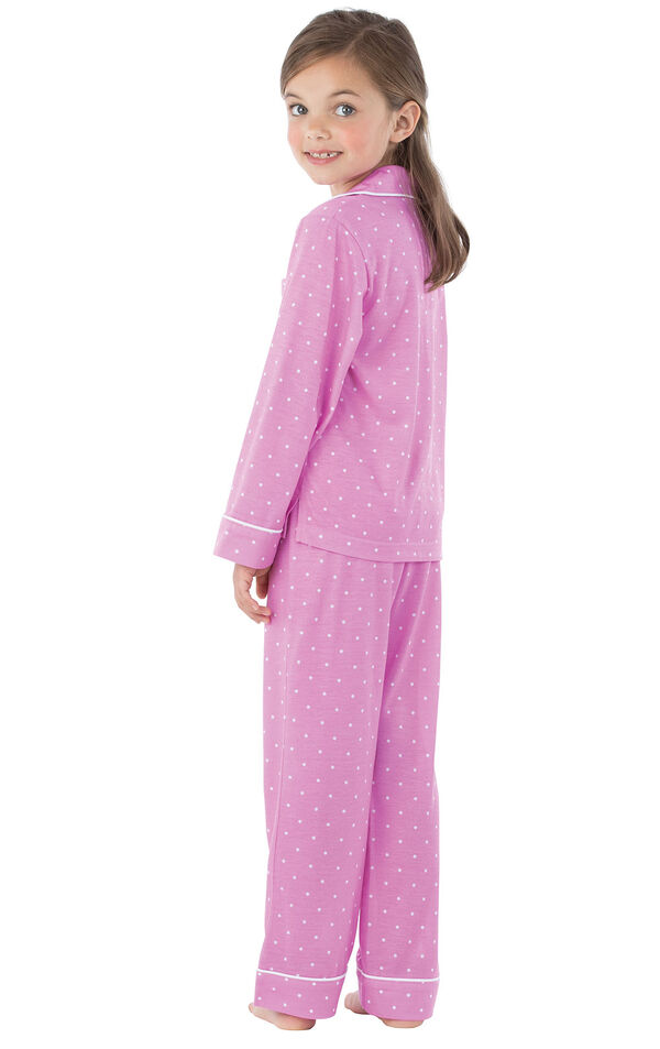 Model wearing Lavender and White Polka Dot Button-Front PJ for Youth, facing away from the camera image number 1
