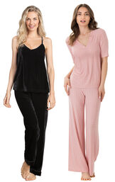 Models wearing Velour Cami Pajamas - Black and Naturally Nude Pajamas - Pink.