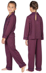Girl wearing Deep Red Print Button-Front PJ for Kids, facing away from the camera and facing to the side image number 1