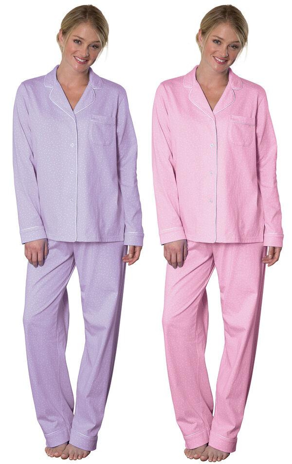 Models wearing Classic Polka-Dot Boyfriend Pajamas - Lavender and Classic Polka-Dot Boyfriend Pajamas - Pink.