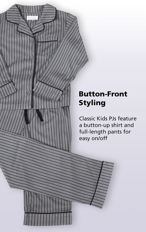 Button-Front Boys Pajamas - Gray Stripe image number 3