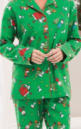 Close-up of Charlie Brown Christmas Pajamas button-front top with notched collar image number 5