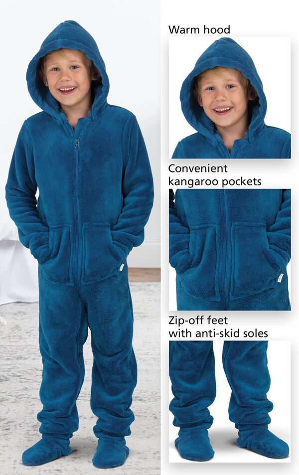 Close-ups of the Hoodie-Footie's features which include a warm hood, convenient kangaroo pockets and zip-off feet with anti-skid soles. image number 2