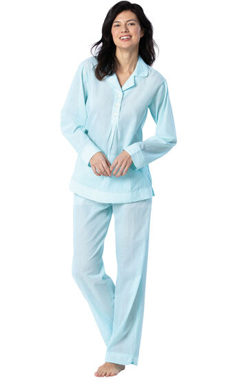Addison Meadow|PajamaGram Summer Pullover PJs - Aqua Stripe