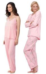 Models wearing Velour Cami Pajamas - Pink and Snuggle Bunny Pajamas. image number 0