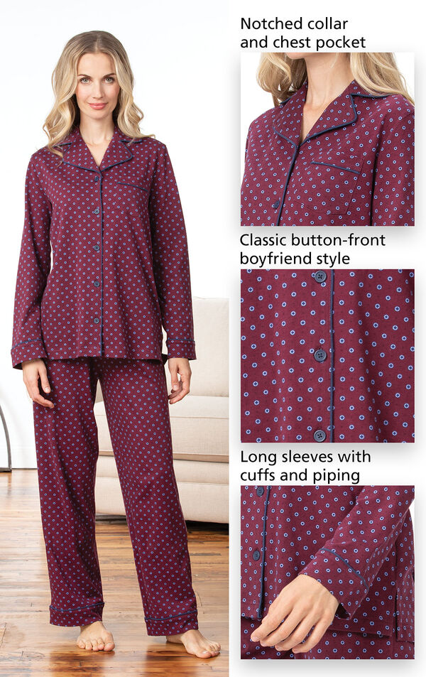 Model wearing Deep Red Print Button-Front PJ for Women image number 3