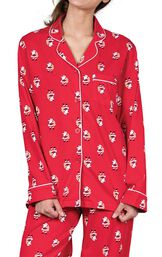 Close Up of St. Nick Boyfriend Pajamas Button Front Top with Chest Pocket and Notched Collar image number 4