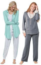 Models wearing Three-Piece Cute Pajama Set and World's Softest Pajamas - Charcoal. image number 0