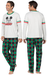 Model wearing Red and Green Mickey Mouse Holiday PJs for Men, facing away from the camera and then facing to the side image number 1