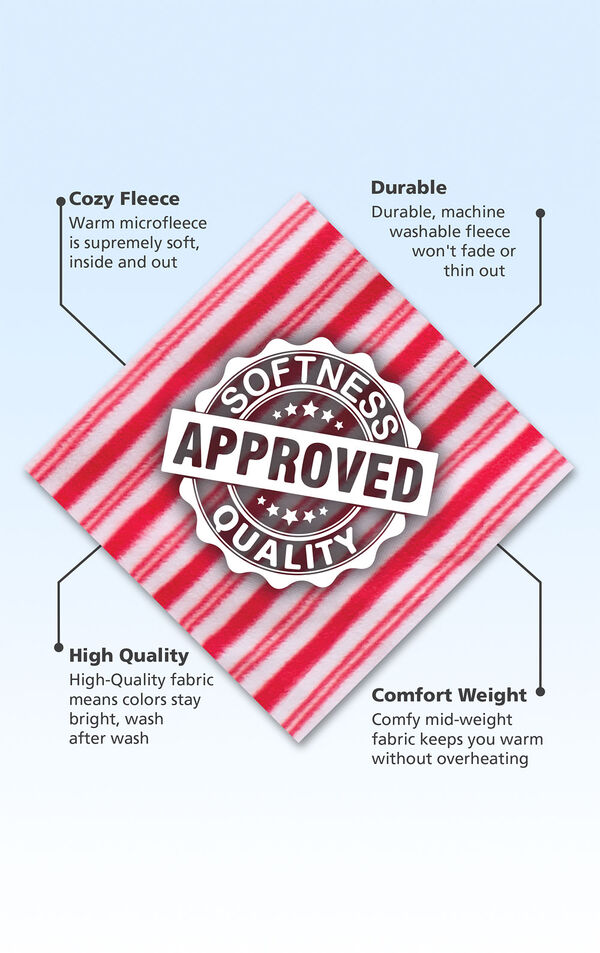 Red and White striped fleece fabric swatch with the following copy: warm microfleece is supremely soft. Machine washable fleece won't fade. High-quality fabric means colors stay bright. Comfy mid-weight fabric keeps you warm. image number 4