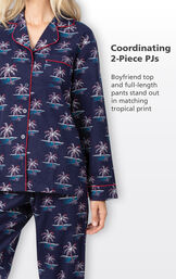 Coordinating 2-Piece PJs - Navy Boyfriend Top and full-length pants stand out in matching tropical Christmas Palm Tree print image number 3