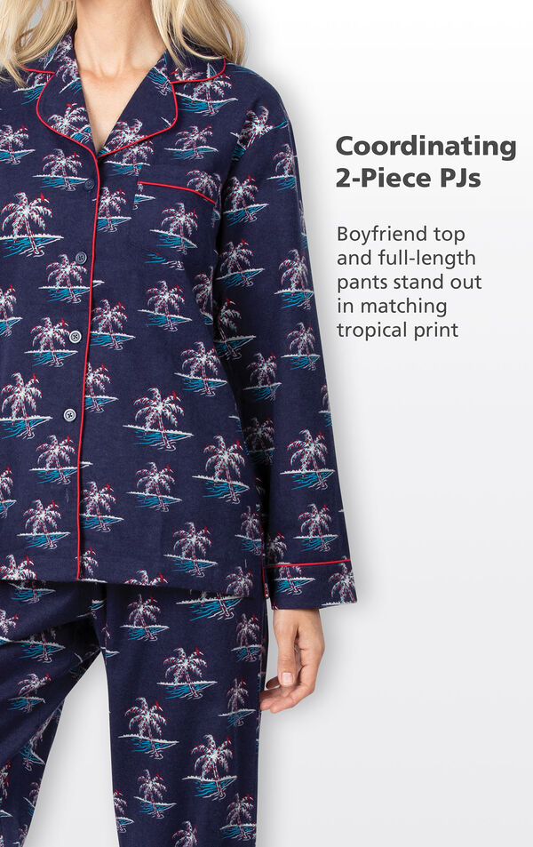 Coordinating 2-Piece PJs - Navy Boyfriend Top and full-length pants stand out in matching tropical Christmas Palm Tree print image number 4