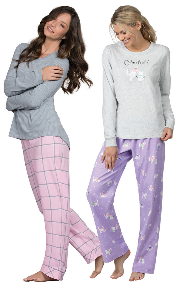Models wearing Purrfect Flannel Pajamas - Purple and World's Softest Flannel Pajama Set - Pink. image number 0
