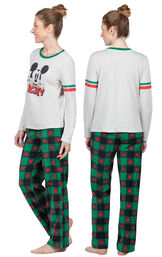 Model wearing Red and Green Mickey Holiday PJs for Women, facing away from the camera and then facing to the side image number 1
