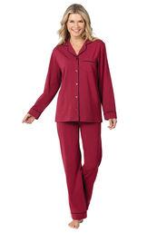 Jersey Boyfriend Pajamas - Cabernet image number 0