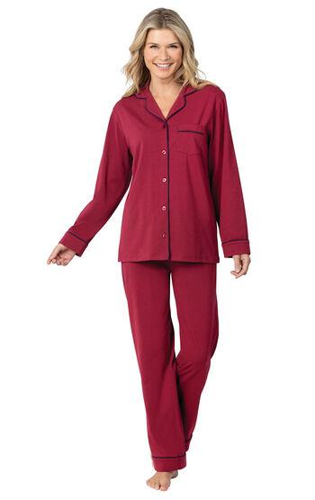 Jersey Boyfriend Pajamas - Cabernet