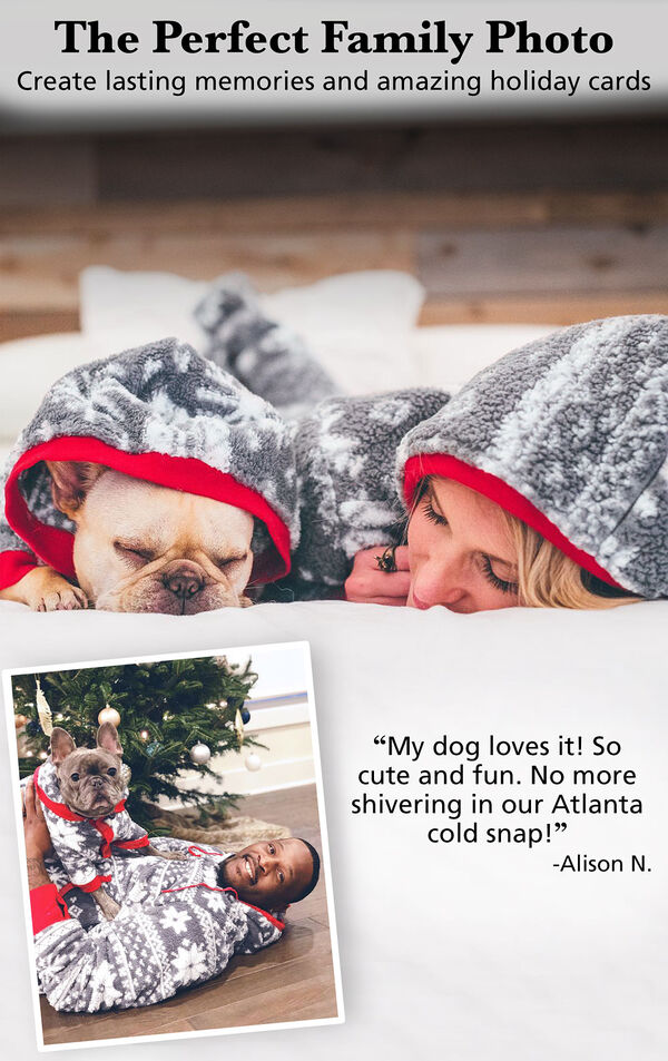 Customers and their pets wearing matching Nordic Fleece Hoodie-Footies. Customer Quote: My dog loves it! So cute and fun. No more shivering in our Atlanta cold snap! - Alison N. image number 2