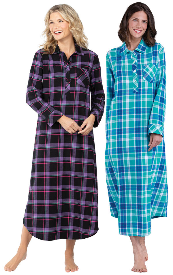 Models wearing Blackberry Plaid Flannel Nightgown and Wintergreen Plaid Flannel Nighty. image number 0