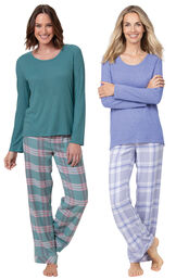 Teal Plaid and Lavender Plaid World's Softest Flannel Pullover PJs Gift Set image number 0