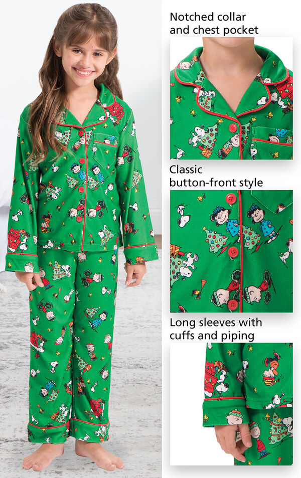 Close-ups of Charlie Brown PJ features which include a notched collar and chest pocket, classic button-front style and long sleeves with cuffs and piping image number 2