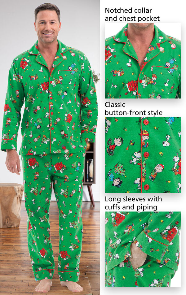 Close-ups of the features of Charlie Brown Christmas Men's Pajamas which include a notched collar and chest pocket, classic button-front style and long sleeves with cuffs and piping image number 3