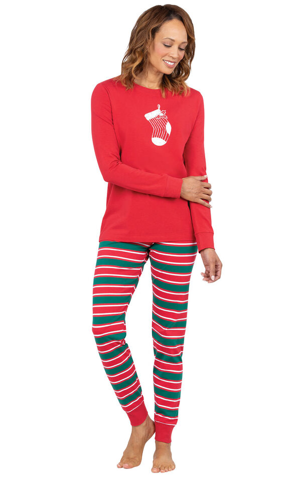 Model wearing Red and Green Christmas Stripe PJ for Women image number 0