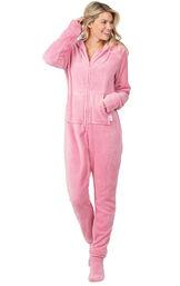 Model wearing Hoodie-Footie - Pink Fleece for Women image number 0