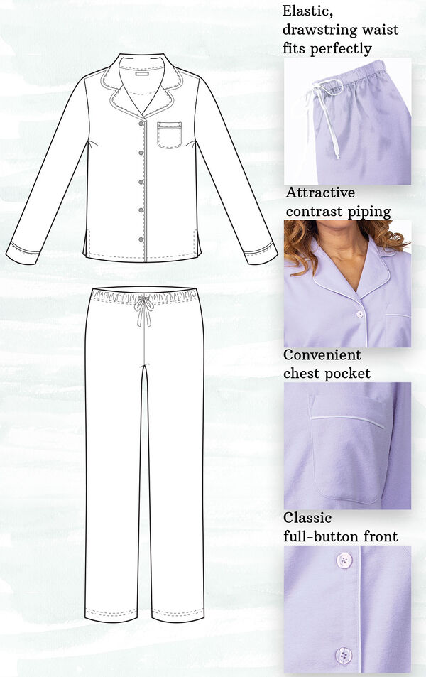 A technical drawing of Flannel Boyfriend PJs with the following insets: elastic, drawstring waist, attractive contrast piping, convenient chest pocket and classic full-button front image number 4