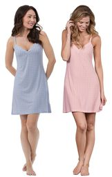 Models wearing Naturally Nude Chemise - Blue and Naturally Nude Chemise - Pink.