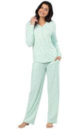 Model wearing Whisper Knit Henley Pajamas - Aqua Llamas image number 0