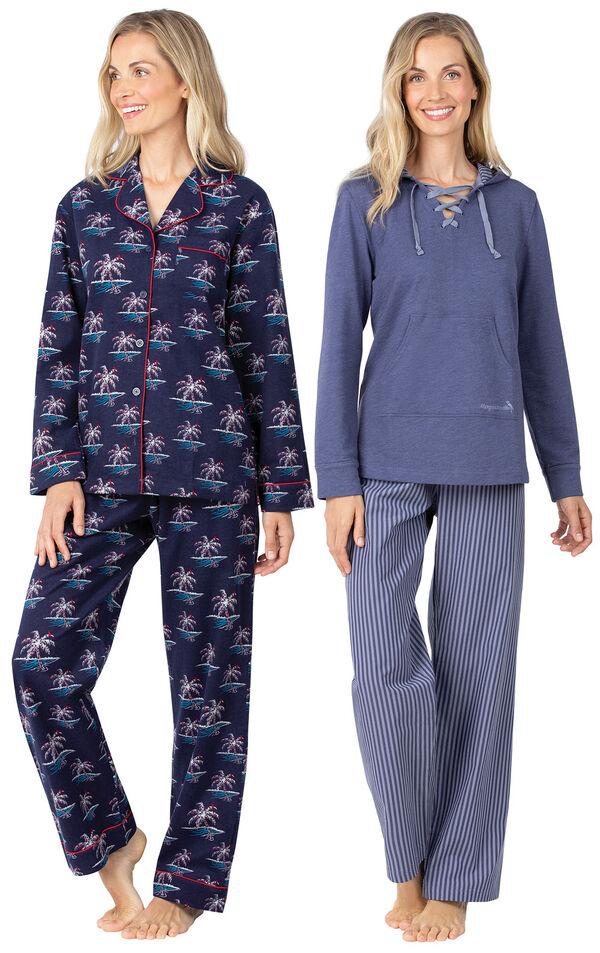 Models wearing Margaritaville Flannel Boyfriend Pajamas - Christmas Palm Trees and Margaritaville Cool Nights Hoodie Pajamas - Navy. image number 0