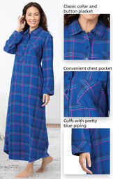 Close-ups of Indigo Plaid Flannel Nighty features which include a classic collar and button placket, convenient chest pocket and cuffs with pretty blue piping image number 3