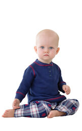 Model wearing Dark Blue Snowflake Plaid Thermal Top PJ for Infants