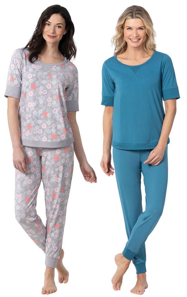 Models wearing Addison MeadowWhisper Knit Joggers - Gray Floral and Addison MeadowWhisper Knit Joggers - Teal image number 0