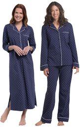 Models wearing Classic Polka-Dot Nighty - Navy and Classic Polka-Dot Boyfriend Pajamas - Navy. image number 0