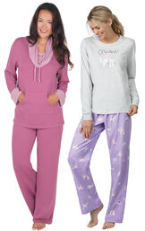 Models wearing Purrfect Flannel Pajamas - Purple and World's Softest Pajamas - Raspberry.